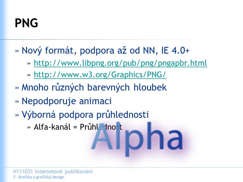 N111031 Internetové publikování 7. Grafika a grafický design PNG »Nový formát, podpora až od NN, IE 4.0+ »http://www.libpng.org/pub/png/pngapbr.htmlht