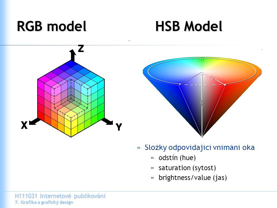 N111031 Internetové publikování 7. Grafika a grafický design RGB modelHSB Model »Složky odpovídající vnímání oka »odstín (hue) »saturation (sytost) »b
