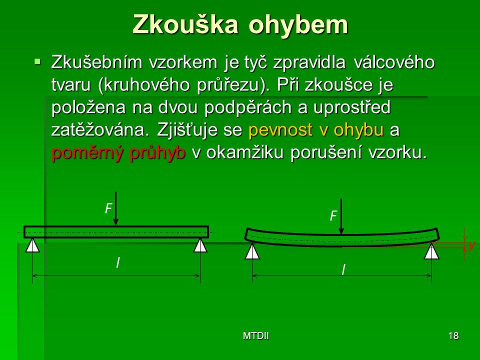 Zkouška ohybem  Zkušebním vzorkem je tyč zpravidla válcového tvaru (kruhového průřezu). Při zkoušce je položena na dvou podpěrách a uprostřed zatěžov