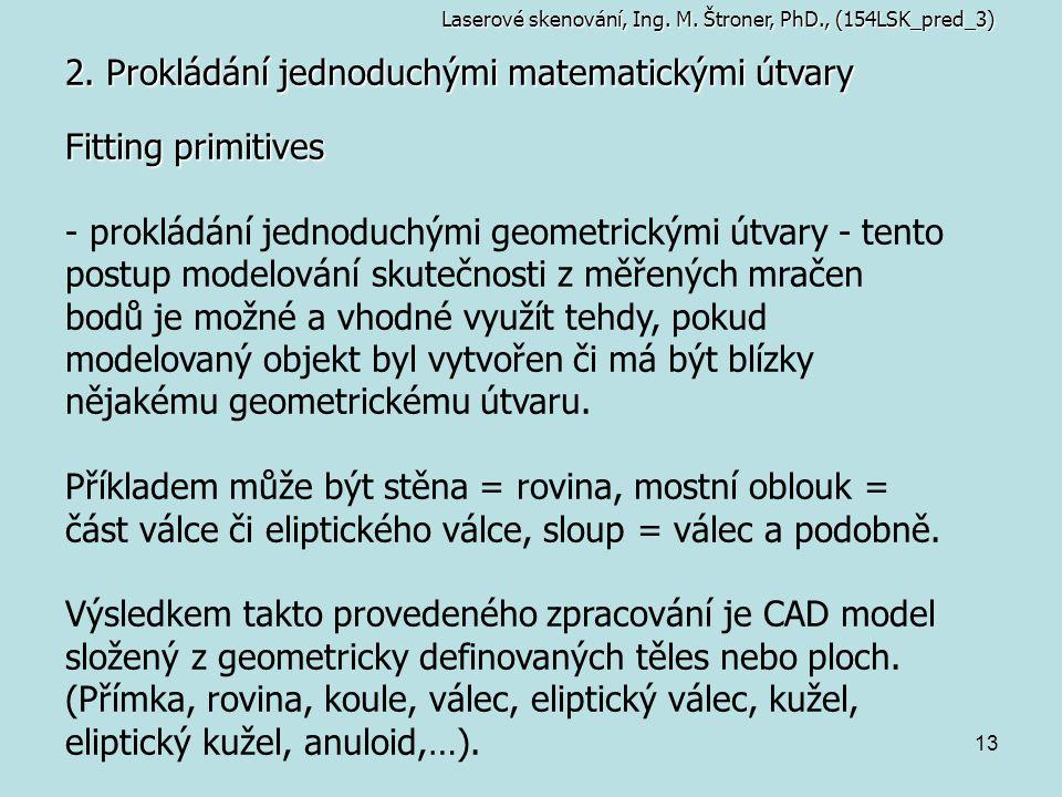 13 2. Prokládání jednoduchými matematickými útvary Laserové skenování, Ing. M. Štroner, PhD., (154LSK_pred_3) Fitting primitives - prokládání jednoduc