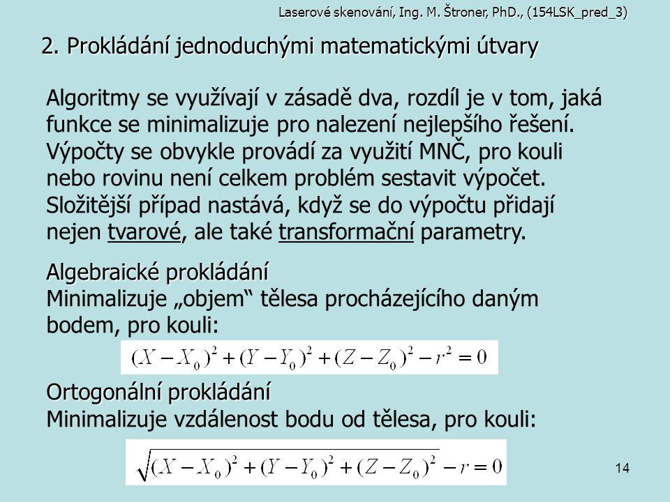 14 2. Prokládání jednoduchými matematickými útvary Laserové skenování, Ing. M. Štroner, PhD., (154LSK_pred_3) Algoritmy se využívají v zásadě dva, roz