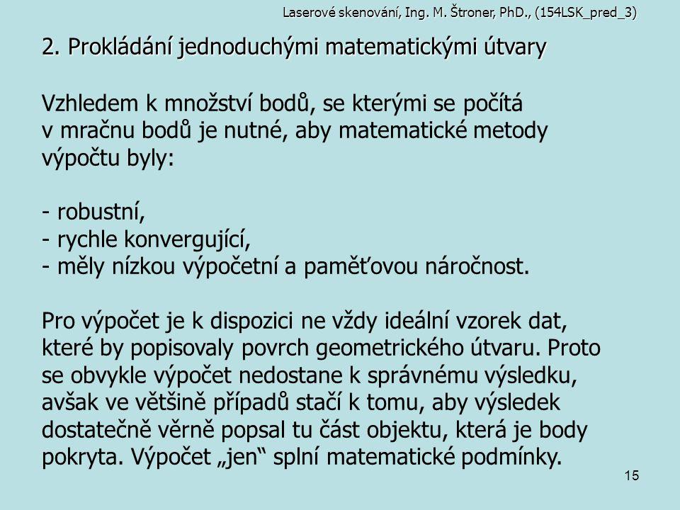 15 2. Prokládání jednoduchými matematickými útvary Laserové skenování, Ing. M. Štroner, PhD., (154LSK_pred_3) Vzhledem k množství bodů, se kterými se