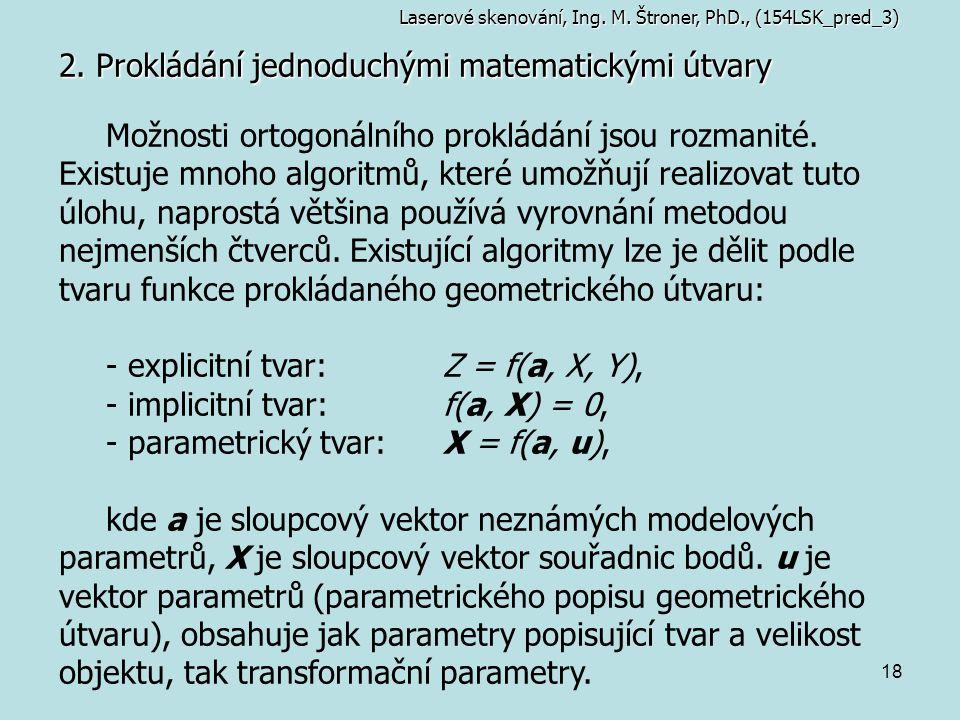 18 2. Prokládání jednoduchými matematickými útvary Laserové skenování, Ing. M. Štroner, PhD., (154LSK_pred_3) Možnosti ortogonálního prokládání jsou r