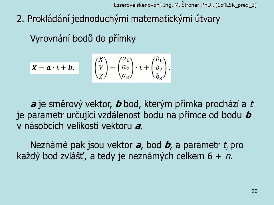 20 2. Prokládání jednoduchými matematickými útvary Laserové skenování, Ing. M. Štroner, PhD., (154LSK_pred_3) Vyrovnání bodů do přímky a je směrový ve