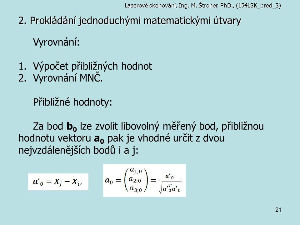 21 2. Prokládání jednoduchými matematickými útvary Laserové skenování, Ing. M. Štroner, PhD., (154LSK_pred_3) Vyrovnání: 1.Výpočet přibližných hodnot