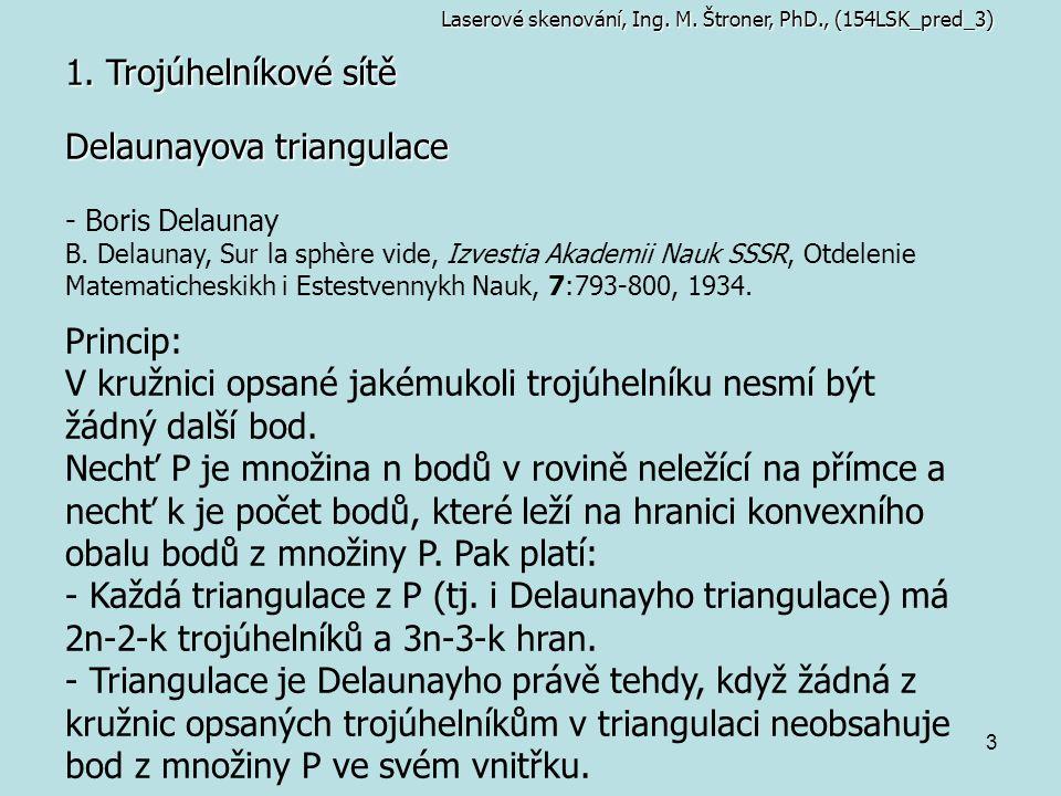 3 1. Trojúhelníkové sítě Laserové skenování, Ing. M. Štroner, PhD., (154LSK_pred_3) Delaunayova triangulace - Boris Delaunay B. Delaunay, Sur la sphèr