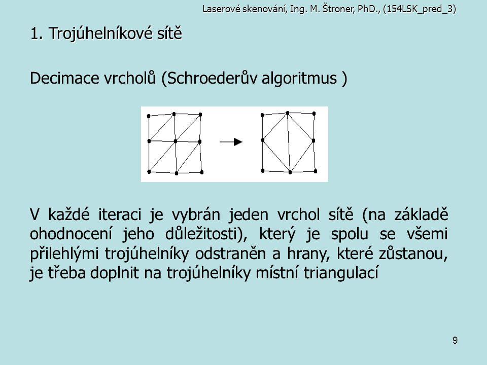 9 1. Trojúhelníkové sítě Laserové skenování, Ing. M. Štroner, PhD., (154LSK_pred_3) Decimace vrcholů (Schroederův algoritmus ) V každé iteraci je vybr