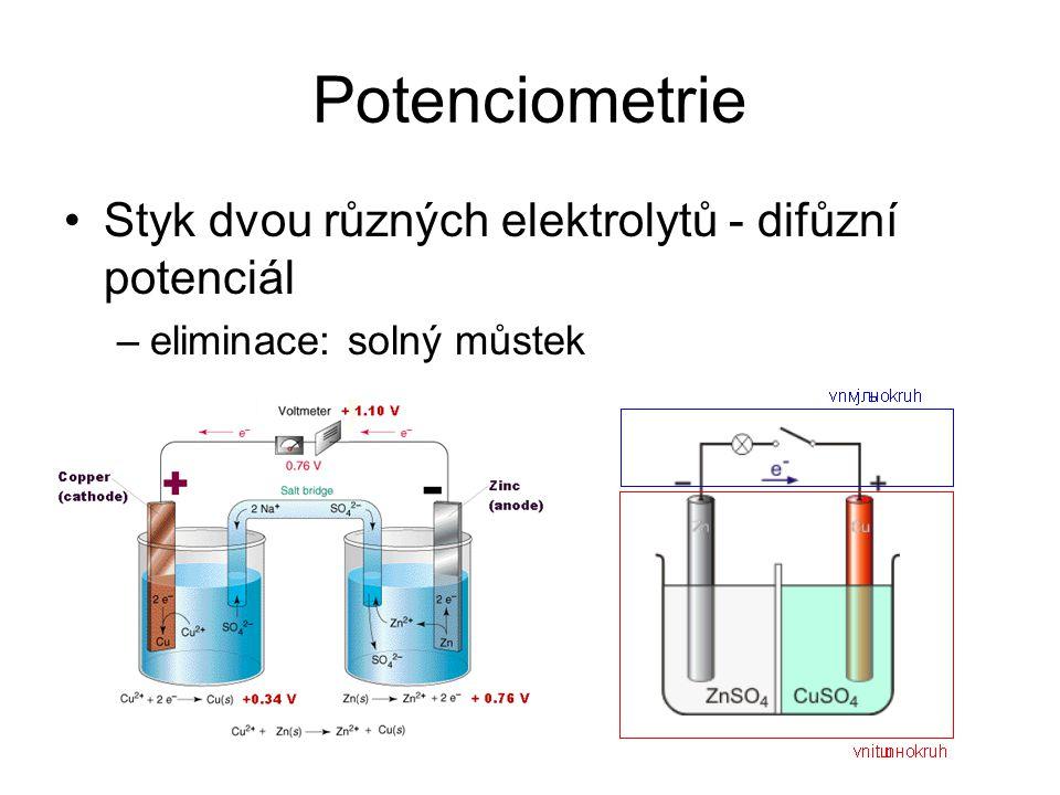 Potenciometrie Styk dvou různých elektrolytů - difůzní potenciál –eliminace: solný můstek