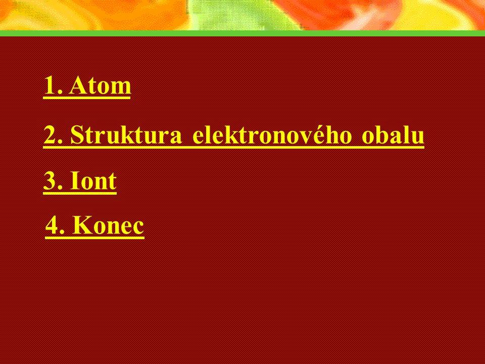 1. Atom 2. Struktura elektronového obalu 3. Iont 4. Konec