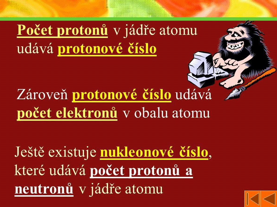 Počet protonů v jádře atomu udává protonové číslo Zároveň protonové číslo udává počet elektronů v obalu atomu Ještě existuje nukleonové číslo, které udává počet protonů a neutronů v jádře atomu