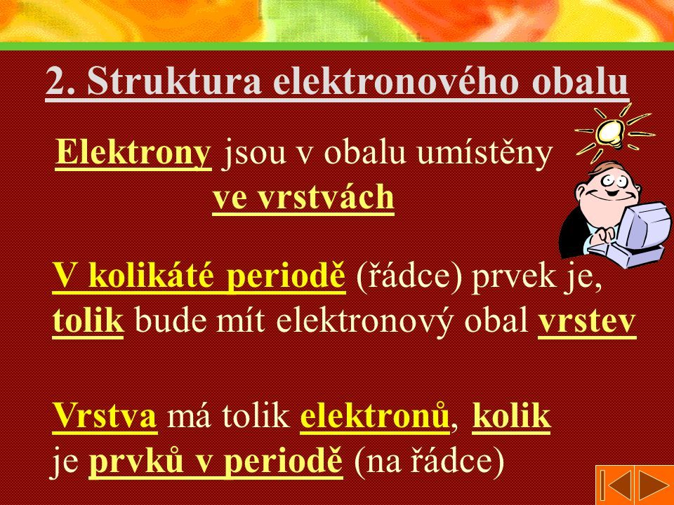 V kolikáté periodě (řádce) prvek je, tolik bude mít elektronový obal vrstev 2.