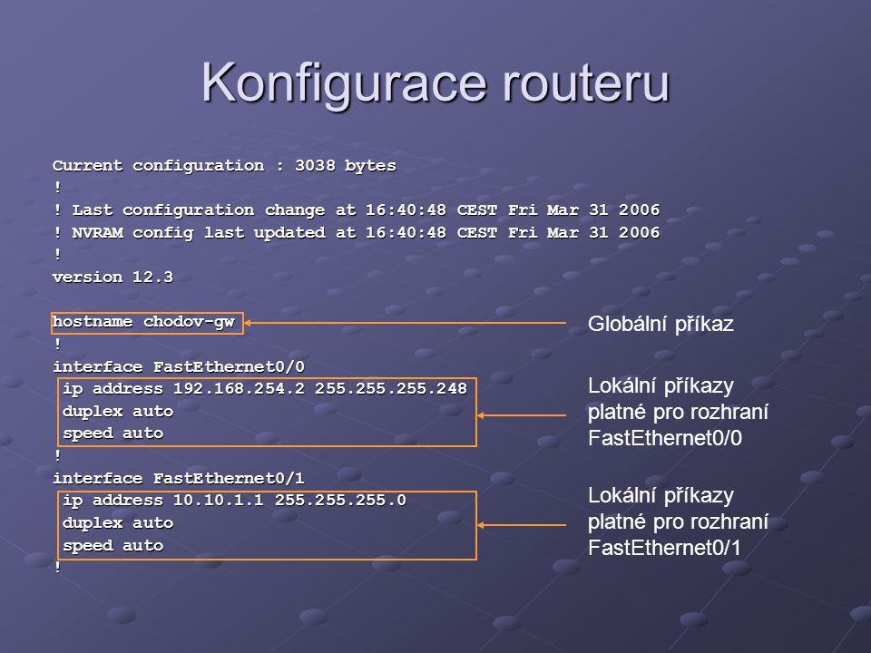 Konfigurace routeru Current configuration : 3038 bytes ! ! Last configuration change at 16:40:48 CEST Fri Mar 31 2006 ! NVRAM config last updated at 1