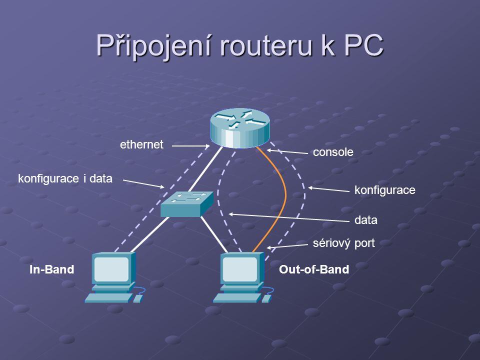 Připojení routeru k PC console sériový port ethernet konfigurace data konfigurace i data In-BandOut-of-Band