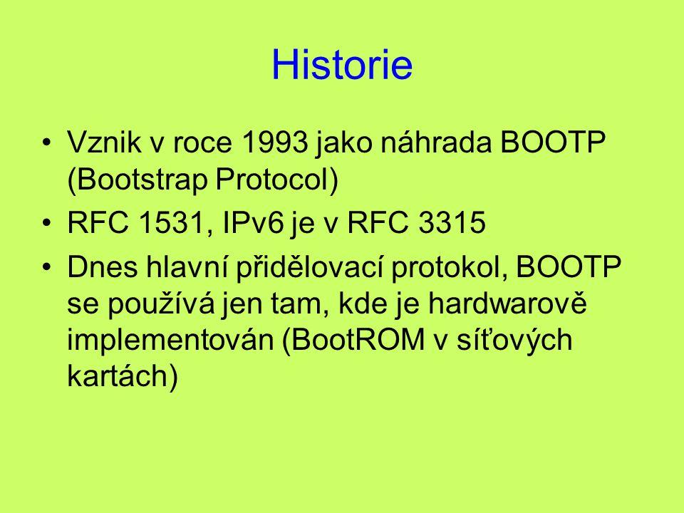 Historie Vznik v roce 1993 jako náhrada BOOTP (Bootstrap Protocol) RFC 1531, IPv6 je v RFC 3315 Dnes hlavní přidělovací protokol, BOOTP se používá jen tam, kde je hardwarově implementován (BootROM v síťových kartách)