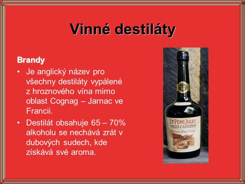 Vinné destiláty Brandy Je anglický název pro všechny destiláty vypálené z hroznového vína mimo oblast Cognag – Jarnac ve Francii. Destilát obsahuje 65