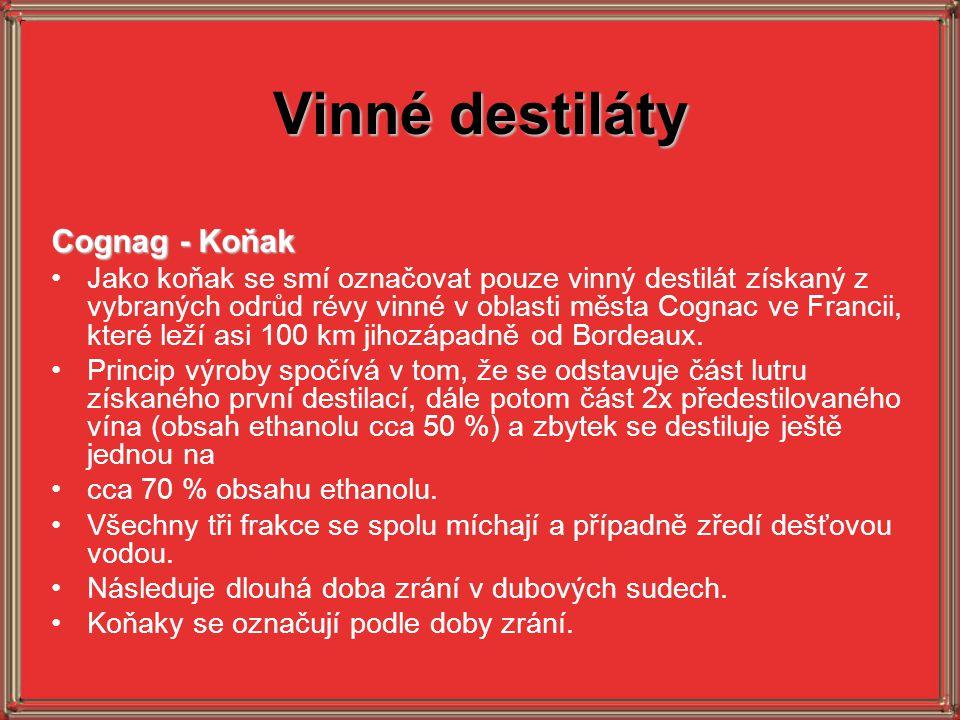 Vinné destiláty Cognag - Koňak Jako koňak se smí označovat pouze vinný destilát získaný z vybraných odrůd révy vinné v oblasti města Cognac ve Francii