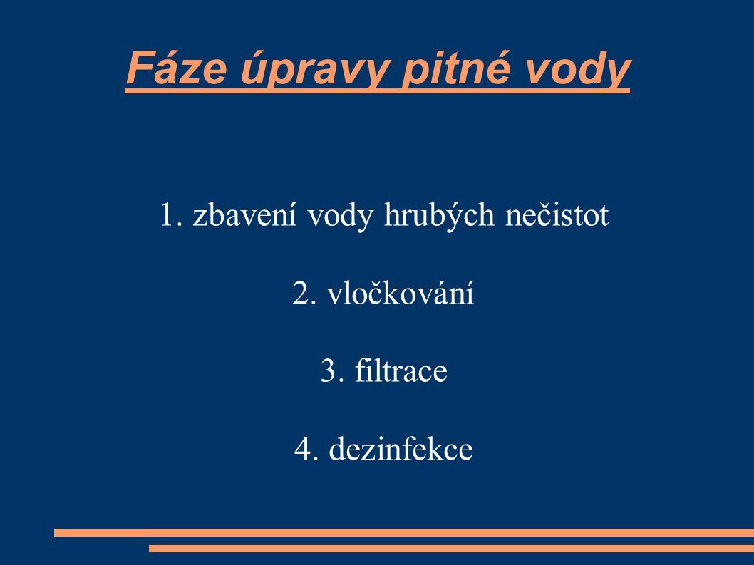 Fáze úpravy pitné vody 1. zbavení vody hrubých nečistot 2. vločkování 3. filtrace 4. dezinfekce