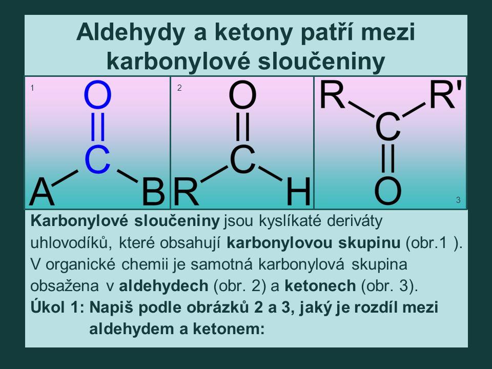 Aldehydy a ketony patří mezi karbonylové sloučeniny Karbonylové sloučeniny jsou kyslíkaté deriváty uhlovodíků, které obsahují karbonylovou skupinu (obr.1 ).