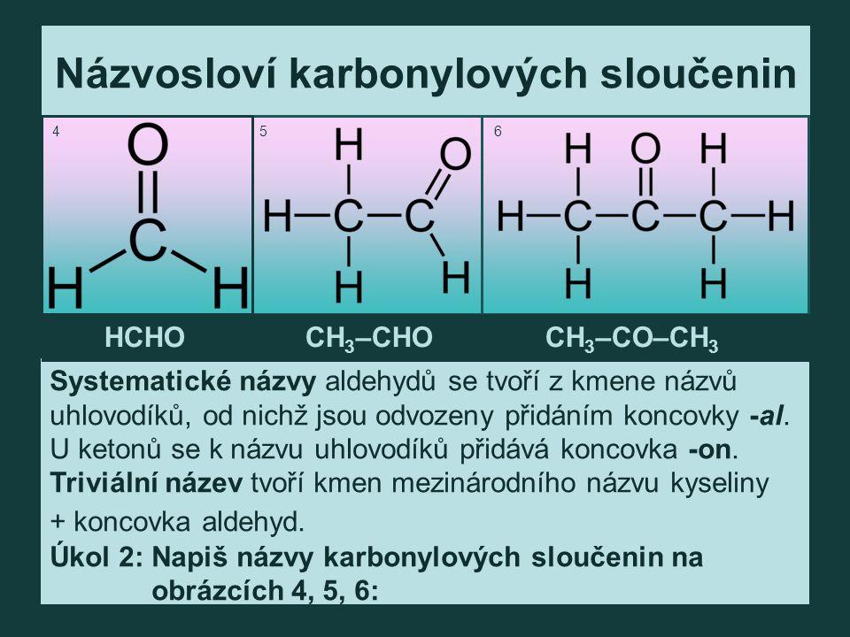 Názvosloví karbonylových sloučenin Systematické názvy aldehydů se tvoří z kmene názvů uhlovodíků, od nichž jsou odvozeny přidáním koncovky -al.