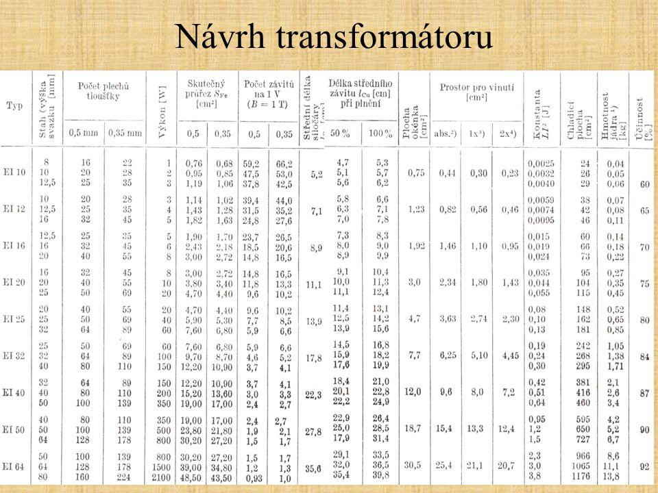 Návrh transformátoru -Zadání známých nebo požadovaných parametrů: sekundární napětí, příkon spotřebiče 1.Volba typu jádra Nejčastěji pro běžná použití