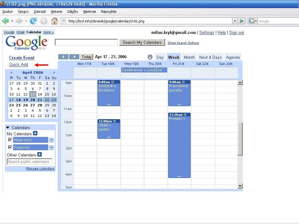 Mozilla Sunbird / Lightning - funkce Jednoduchá organizace dat a úkolů Připomínání Kalendář s možností publikace na web Zobrazení více kalendářů v jednom okně + jejich barevné odlišení Snadný import a export dat