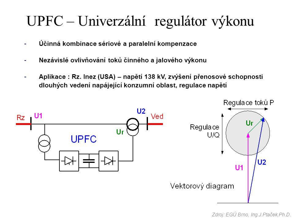 UPFC – Univerzální regulátor výkonu -Účinná kombinace sériové a paralelní kompenzace -Nezávislé ovlivňování toků činného a jalového výkonu -Aplikace :