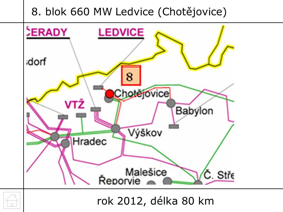 8. blok 660 MW Ledvice (Chotějovice) rok 2012, délka 80 km