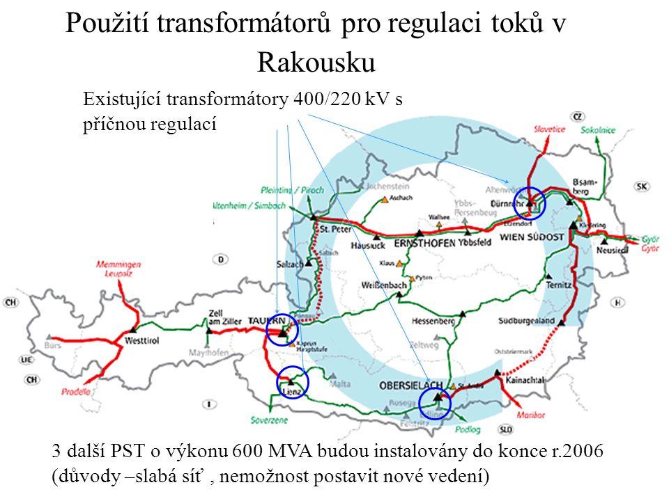 Existující transformátory 400/220 kV s příčnou regulací Použití transformátorů pro regulaci toků v Rakousku 3 další PST o výkonu 600 MVA budou instalo