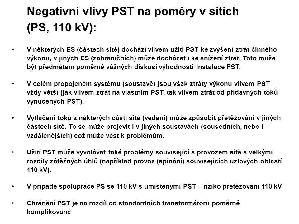Negativní vlivy PST na poměry v sítích (PS, 110 kV): Negativní vlivy PST na poměry v sítích (PS, 110 kV): V některých ES (částech sítě) dochází vlivem