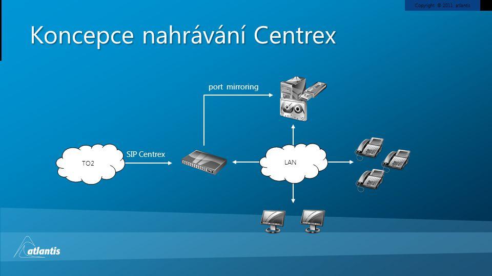 Copyright © 2011, atlantis Koncepce nahrávání Centrex LAN SIP Centrex TO2 port mirroring