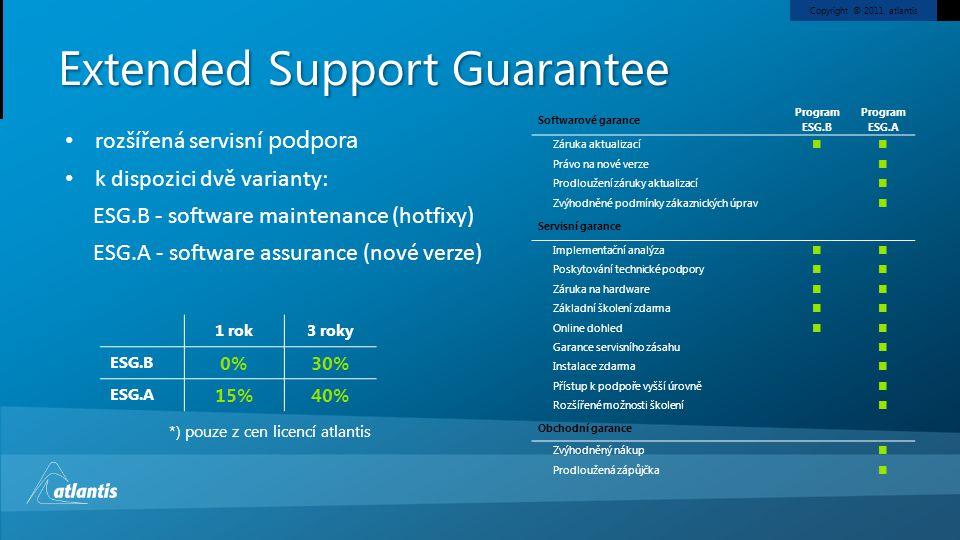 Copyright © 2011, atlantis Extended Support Guarantee Softwarové garance Program ESG.B Program ESG.A Záruka aktualizací Právo na nové verze Prodloužen