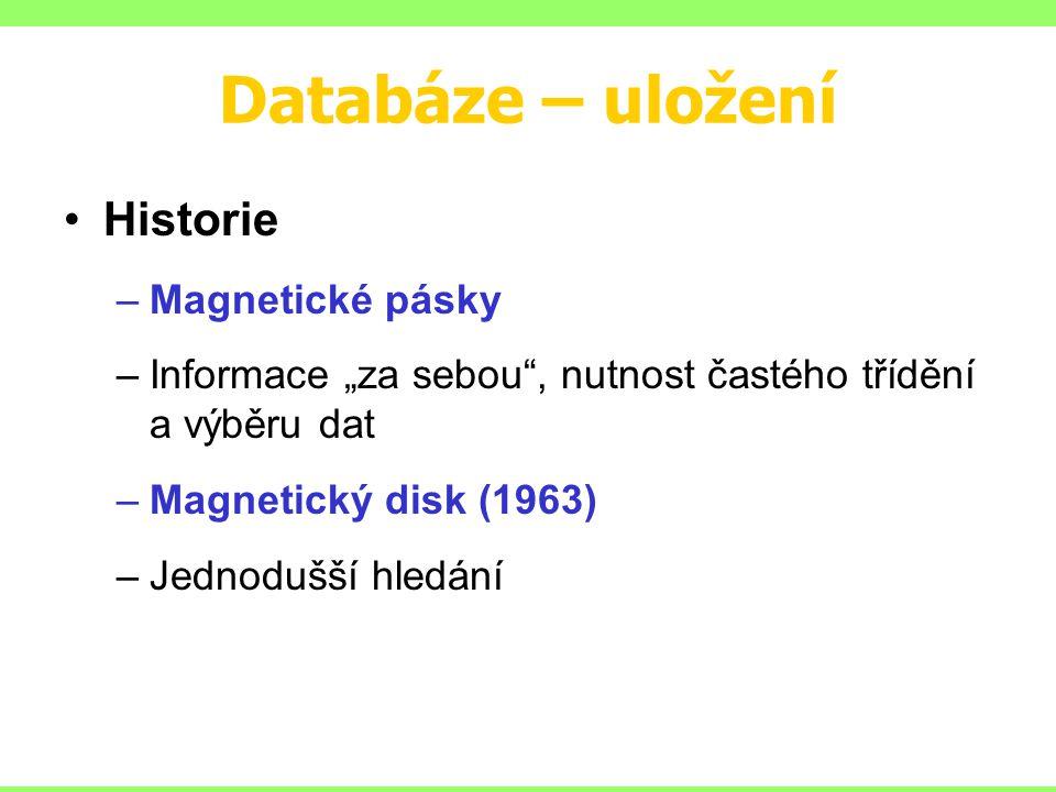 """Databáze – uložení Historie –Magnetické pásky –Informace """"za sebou , nutnost častého třídění a výběru dat –Magnetický disk (1963) –Jednodušší hledání"""