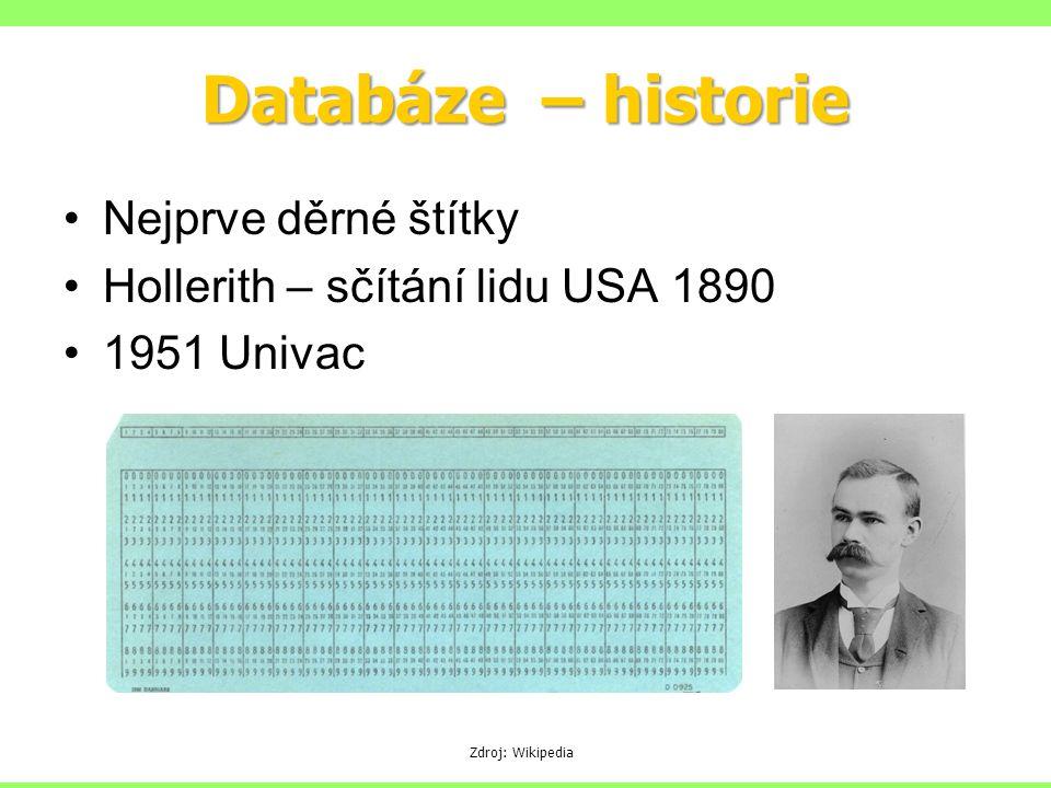 Databáze – historie Nejprve děrné štítky Hollerith – sčítání lidu USA 1890 1951 Univac Zdroj: Wikipedia