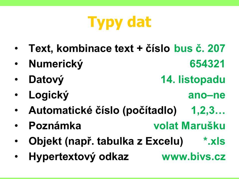Typy dat Text, kombinace text + číslobus č. 207 Numerický654321 Datový14.