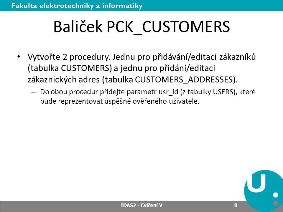 Baliček PCK_CUSTOMERS Vytvořte 2 procedury. Jednu pro přidávání/editaci zákazníků (tabulka CUSTOMERS) a jednu pro přidání/editaci zákaznických adres (