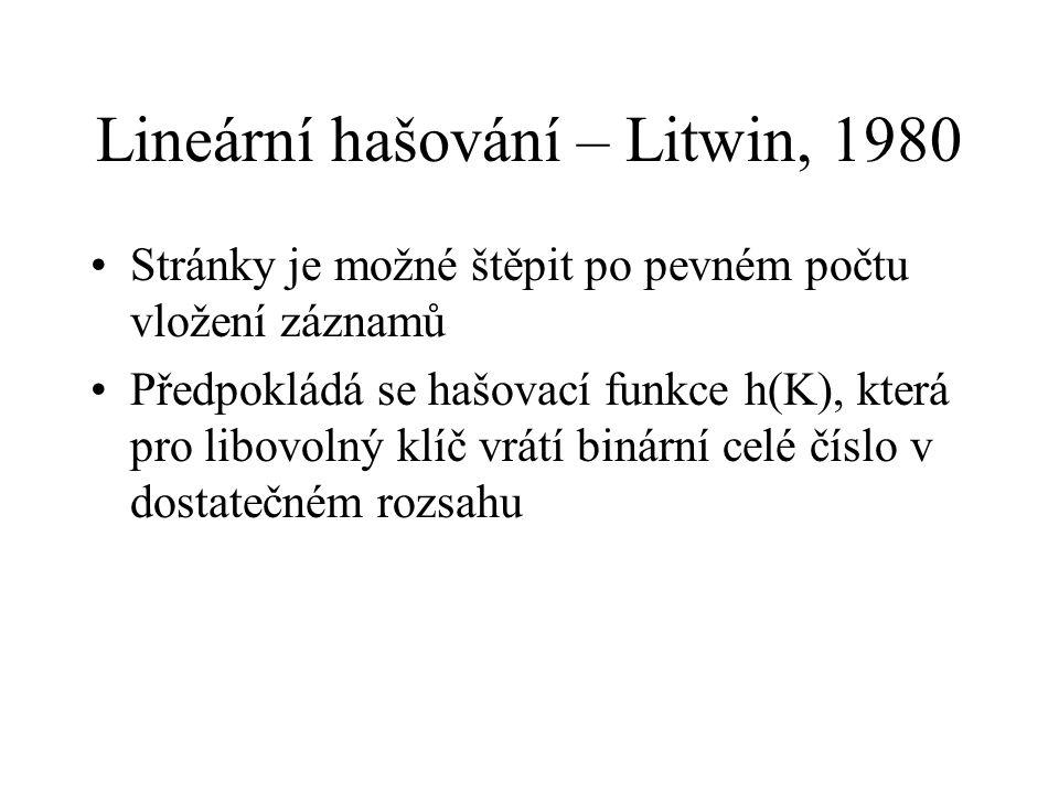 Lineární hašování – Litwin, 1980 Stránky je možné štěpit po pevném počtu vložení záznamů Předpokládá se hašovací funkce h(K), která pro libovolný klíč