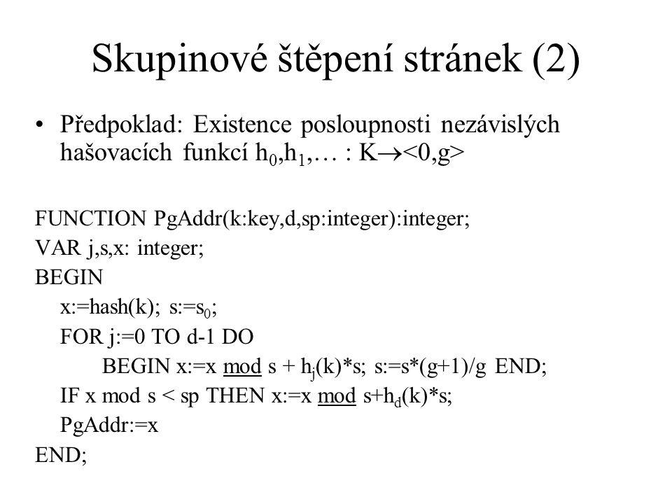 Skupinové štěpení stránek (2) Předpoklad: Existence posloupnosti nezávislých hašovacích funkcí h 0,h 1,… : K  FUNCTION PgAddr(k:key,d,sp:integer):int