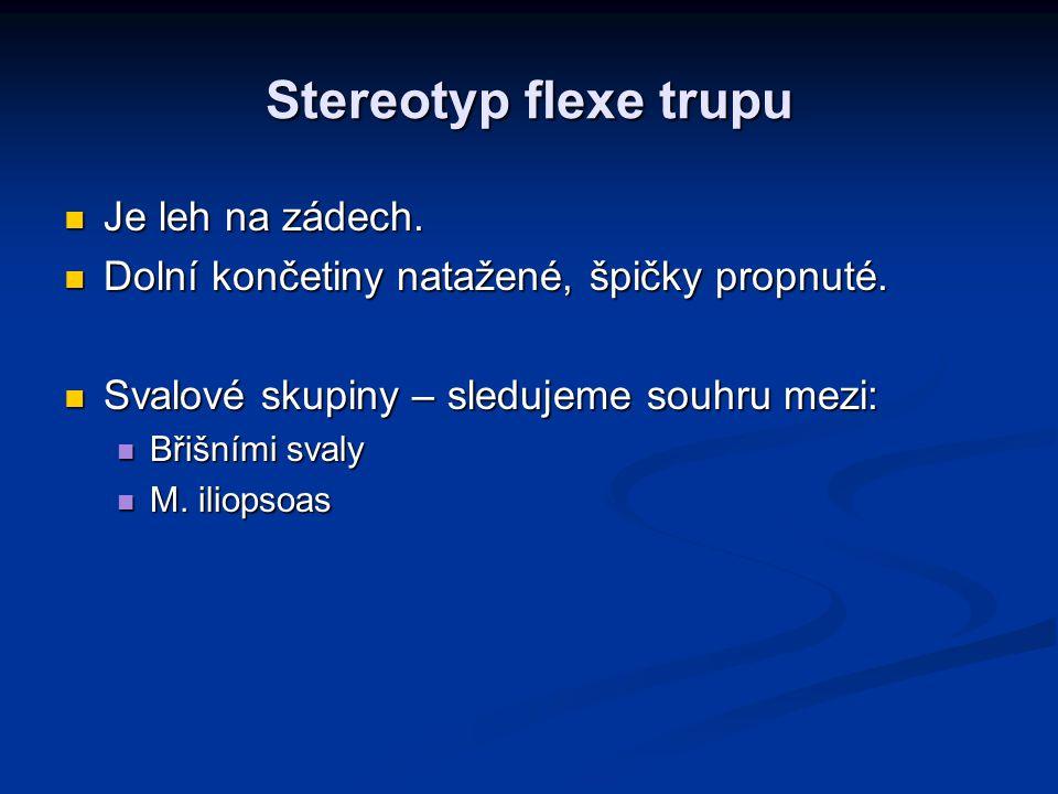 Stereotyp flexe trupu Je leh na zádech. Je leh na zádech. Dolní končetiny natažené, špičky propnuté. Dolní končetiny natažené, špičky propnuté. Svalov