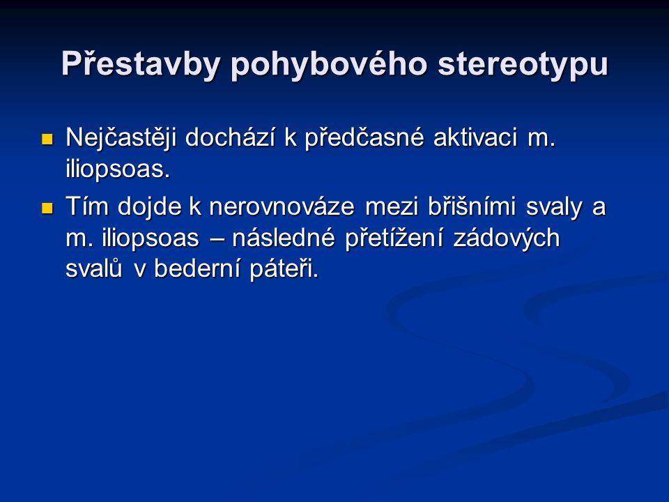 Přestavby pohybového stereotypu Nejčastěji dochází k předčasné aktivaci m. iliopsoas. Nejčastěji dochází k předčasné aktivaci m. iliopsoas. Tím dojde