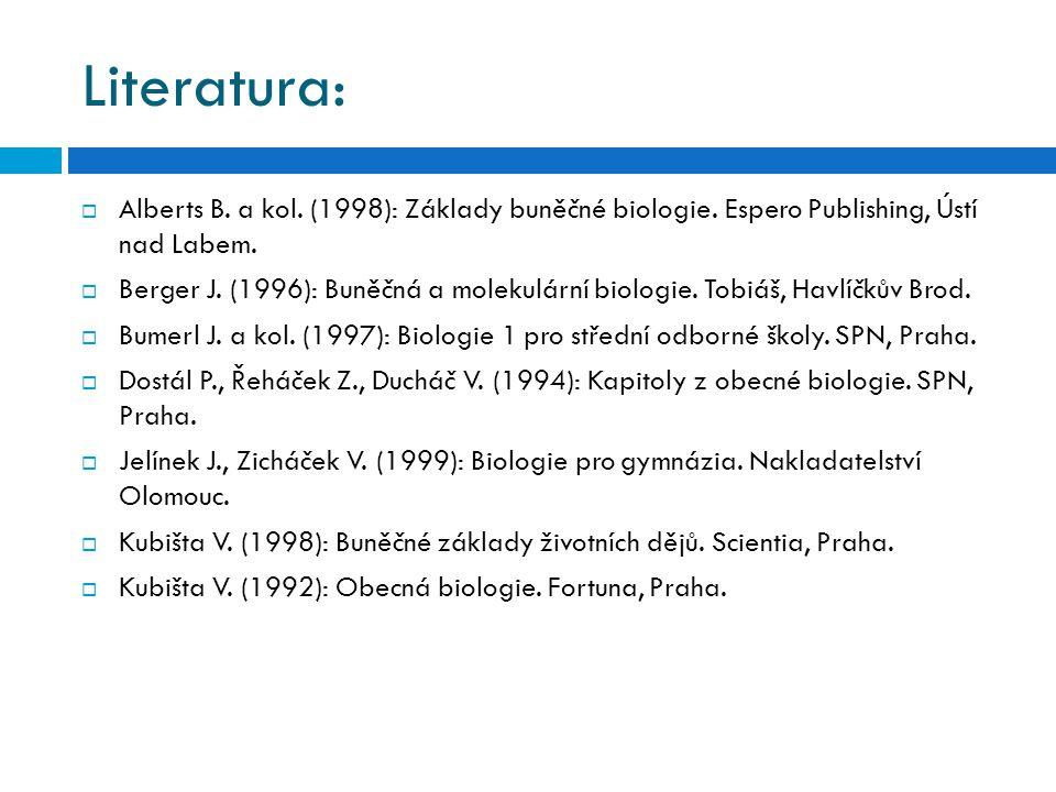 Literatura:  Alberts B. a kol. (1998): Základy buněčné biologie. Espero Publishing, Ústí nad Labem.  Berger J. (1996): Buněčná a molekulární biologi