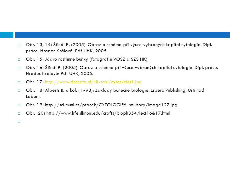  Obr.13, 14) Štindl P. (2005): Obraz a schéma při výuce vybraných kapitol cytologie.