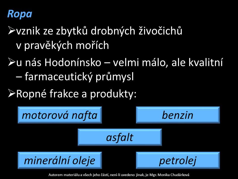 Ropa  vznik ze zbytků drobných živočichů v pravěkých mořích  u nás Hodonínsko – velmi málo, ale kvalitní – farmaceutický průmysl  Ropné frakce a pr