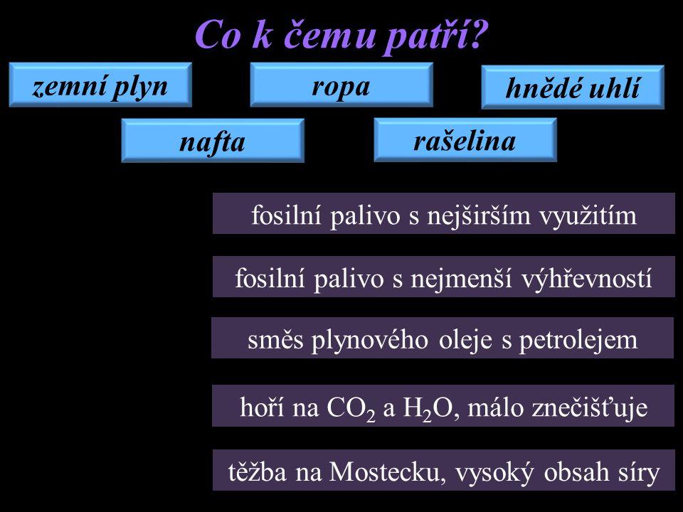 zemní plyn rašelina ropa hnědé uhlí nafta Co k čemu patří? fosilní palivo s nejširším využitím fosilní palivo s nejmenší výhřevností směs plynového ol