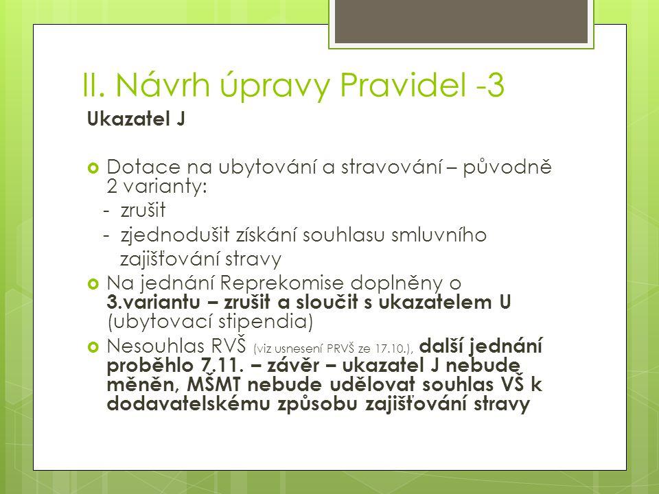 II. Návrh úpravy Pravidel -3 Ukazatel J  Dotace na ubytování a stravování – původně 2 varianty: - zrušit - zjednodušit získání souhlasu smluvního zaj