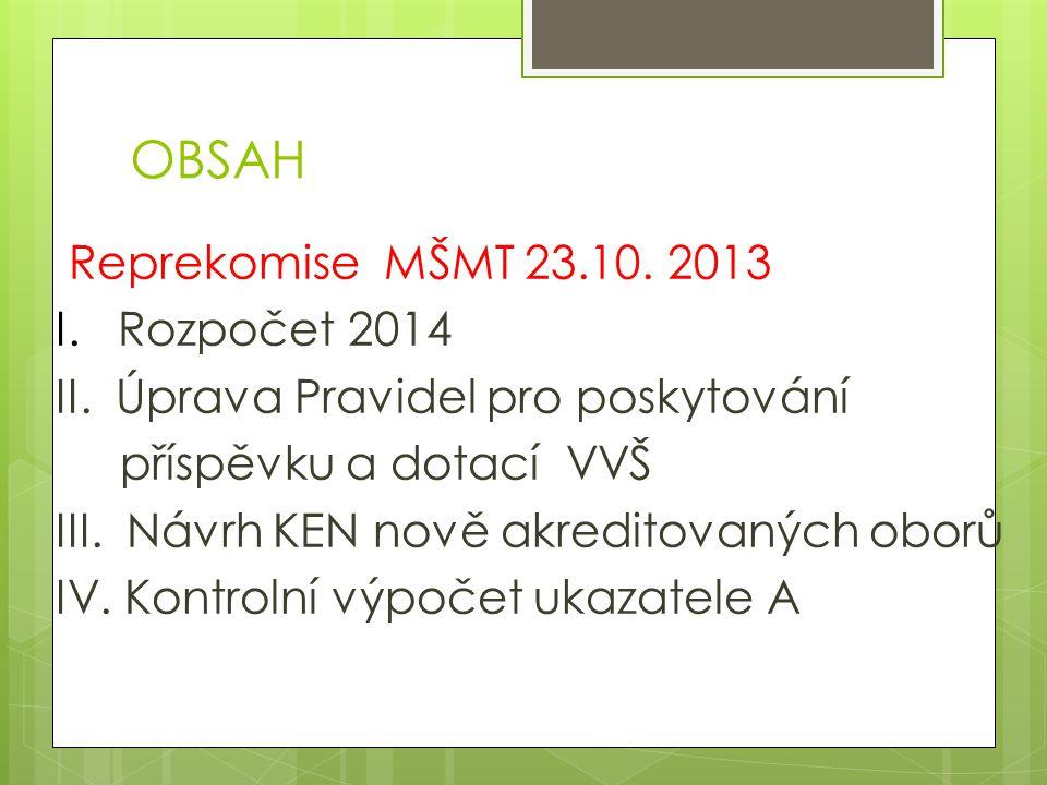 OBSAH Reprekomise MŠMT 23.10. 2013 I. Rozpočet 2014 II.