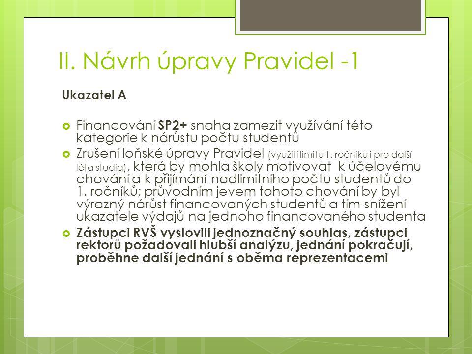 II. Návrh úpravy Pravidel -1 Ukazatel A  Financování SP2+ snaha zamezit využívání této kategorie k nárůstu počtu studentů  Zrušení loňské úpravy Pra