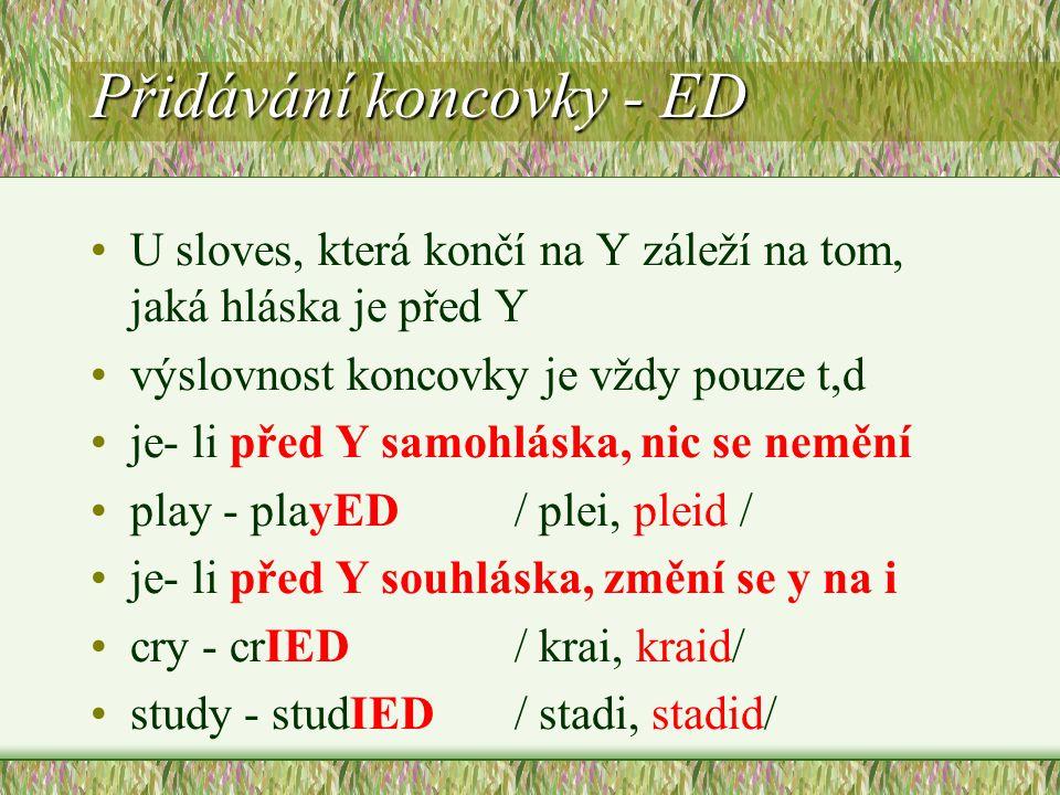 Přidávání koncovky - ED U sloves, která končí na Y záleží na tom, jaká hláska je před Y výslovnost koncovky je vždy pouze t,d je- li před Y samohláska