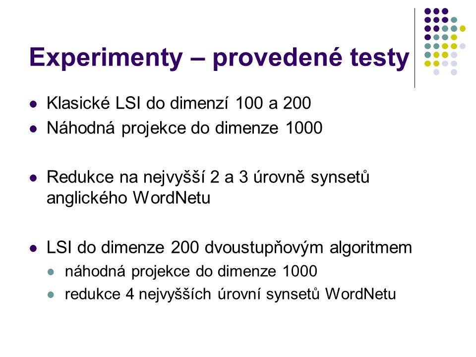 Experimenty – provedené testy Klasické LSI do dimenzí 100 a 200 Náhodná projekce do dimenze 1000 Redukce na nejvyšší 2 a 3 úrovně synsetů anglického W