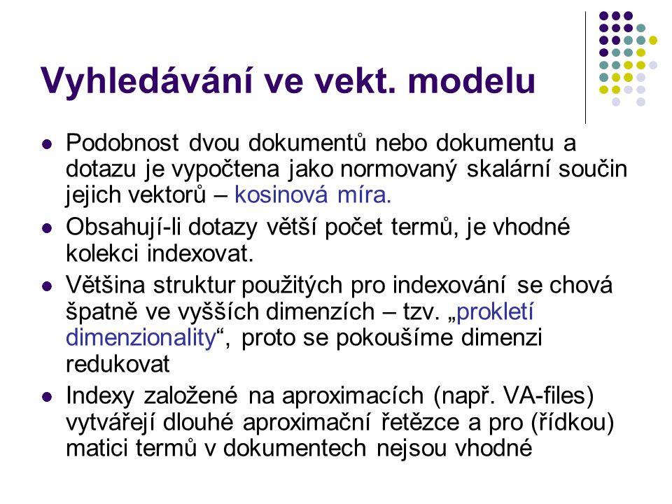 Vyhledávání ve vekt. modelu Podobnost dvou dokumentů nebo dokumentu a dotazu je vypočtena jako normovaný skalární součin jejich vektorů – kosinová mír