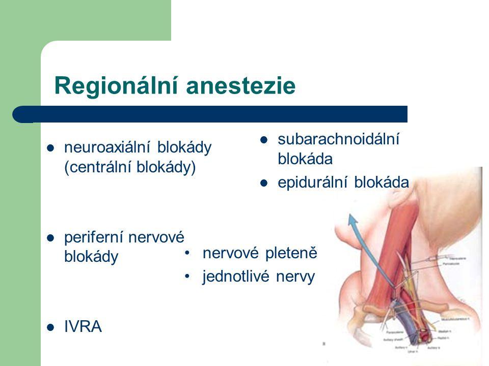 Regionální anestezie neuroaxiální blokády (centrální blokády) periferní nervové blokády IVRA subarachnoidální blokáda epidurální blokáda nervové plete